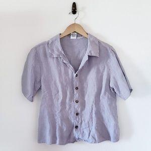 CP Shades Irish Linen Short Sleeve Button Up Top